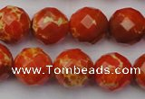 CDE2104 15.5 inches 14mm faceted round dyed sea sediment jasper beads