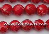 CDE2123 15.5 inches 12mm faceted round dyed sea sediment jasper beads