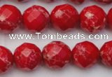 CDE2124 15.5 inches 14mm faceted round dyed sea sediment jasper beads