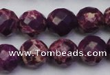 CDE2146 15.5 inches 18mm faceted round dyed sea sediment jasper beads