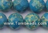 CDE2169 15.5 inches 24mm faceted round dyed sea sediment jasper beads