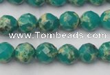 CDE2171 15.5 inches 8mm faceted round dyed sea sediment jasper beads