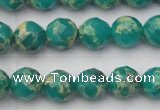 CDE2172 15.5 inches 10mm faceted round dyed sea sediment jasper beads
