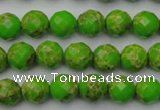 CDE2180 15.5 inches 6mm faceted round dyed sea sediment jasper beads