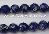 CDE2211 15.5 inches 8mm faceted round dyed sea sediment jasper beads