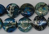 CDE232 15.5 inches 16mm flat round dyed sea sediment jasper beads