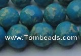 CDE2549 15.5 inches 14mm faceted round dyed sea sediment jasper beads
