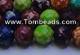CDE2698 12mm faceted round mixed color sea sediment jasper beads