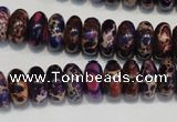 CDE372 15.5 inches 6*12mm rondelle dyed sea sediment jasper beads