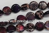 CDE405 15.5 inches 10mm flat round dyed sea sediment jasper beads