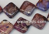 CDE445 15.5 inches 16*16mm diamond dyed sea sediment jasper beads
