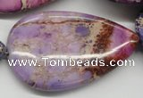 CDE463 15.5 inches 30*50mm flat teardrop dyed sea sediment jasper beads