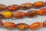 CDE510 15.5 inches 8*16mm rice dyed sea sediment jasper beads