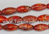 CDE512 15.5 inches 8*16mm rice dyed sea sediment jasper beads
