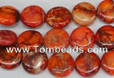 CDE517 15.5 inches 12mm flat round dyed sea sediment jasper beads
