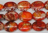 CDE531 15.5 inches 12*16mm oval dyed sea sediment jasper beads