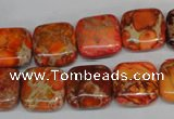 CDE540 15.5 inches 14*14mm square dyed sea sediment jasper beads