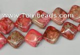 CDE568 15.5 inches 10*10mm diamond dyed sea sediment jasper beads