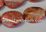 CDE575 15.5 inches 18*25mm twisted oval dyed sea sediment jasper beads