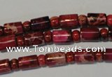 CDE597 15.5 inches 3*6mm rondelle 6*9mm tube dyed sea sediment jasper beads