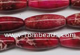 CDE607 15.5 inches 11*31mm rice dyed sea sediment jasper beads