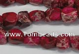 CDE612 15.5 inches 8*10mm faceted nugget dyed sea sediment jasper beads