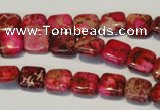 CDE620 15.5 inches 10*10mm square dyed sea sediment jasper beads