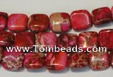 CDE621 15.5 inches 12*12mm square dyed sea sediment jasper beads