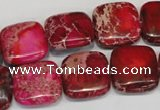 CDE623 15.5 inches 16*16mm square dyed sea sediment jasper beads