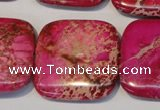 CDE627 15.5 inches 30*30mm square dyed sea sediment jasper beads