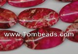 CDE647 15.5 inches 15*30mm oval dyed sea sediment jasper beads