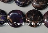 CDE707 15.5 inches 20mm flat round dyed sea sediment jasper beads