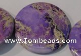 CDE709 15.5 inches 55mm flat round dyed sea sediment jasper beads