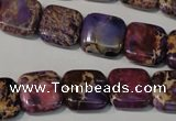 CDE716 15.5 inches 14*14mm square dyed sea sediment jasper beads