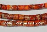 CDE735 15.5 inches 6*6mm tube dyed sea sediment jasper beads