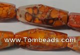 CDE745 15.5 inches 13*42mm faceted rice dyed sea sediment jasper beads