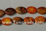 CDE750 15.5 inches 12*14mm oval dyed sea sediment jasper beads