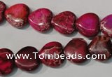 CDE792 15.5 inches 12*12mm heart dyed sea sediment jasper beads