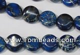 CDE906 15.5 inches 12mm flat round dyed sea sediment jasper beads