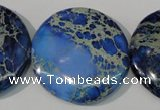 CDE909 15.5 inches 35mm flat round dyed sea sediment jasper beads