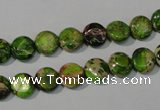 CDE935 15.5 inches 8mm flat round dyed sea sediment jasper beads