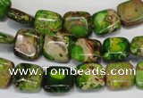CDI120 15.5 inches 10*10mm square dyed imperial jasper beads