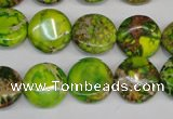 CDI123 15.5 inches 14mm flat round dyed imperial jasper beads