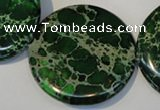 CDI177 15.5 inches 35mm flat round dyed imperial jasper beads