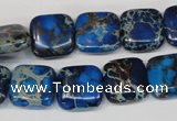 CDI238 15.5 inches 14*14mm square dyed imperial jasper beads
