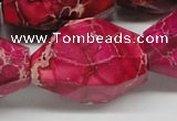 CDI28 16 inches 25*35mm faceted nuggets dyed imperial jasper beads