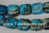 CDI300 15.5 inches 14*14mm square dyed imperial jasper beads