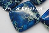 CDI340 15.5 inches 35*35mm diamond dyed imperial jasper beads