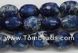 CDI49 16 inches 12*15mm faceted egg-shaped dyed imperial jasper beads