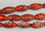 CDI512 15.5 inches 8*16mm rice dyed imperial jasper beads
